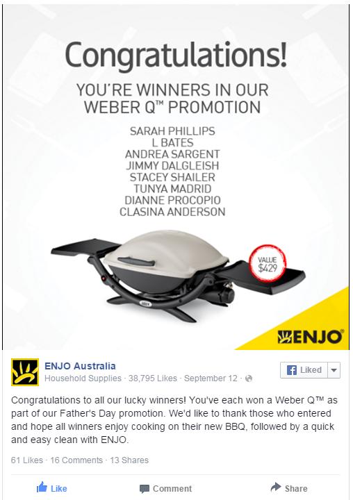 weber q enjo winner