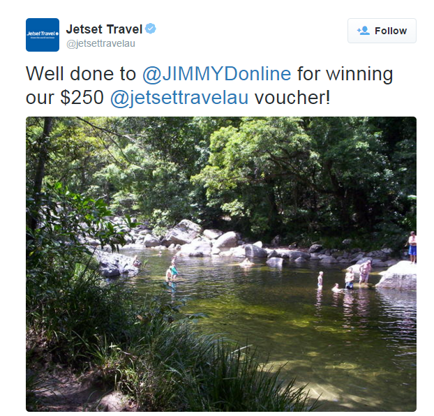 jetset travel promotion winner