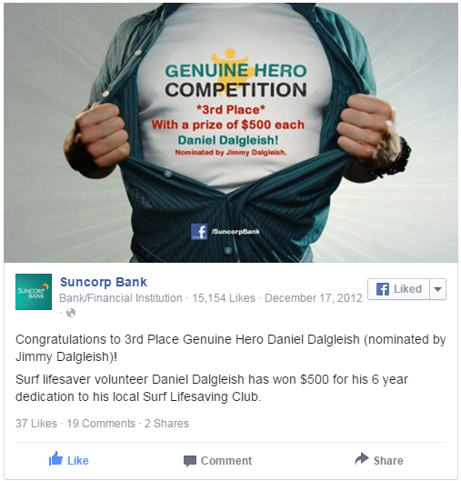 suncorp bank promotion runner up